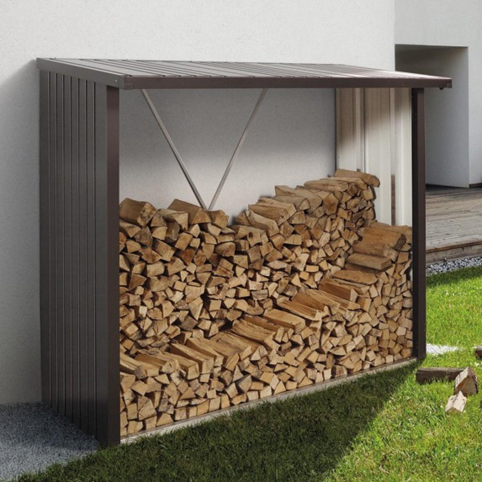 Legnaia in lamiera zincata da esterno woodstock for Porta legna da esterno